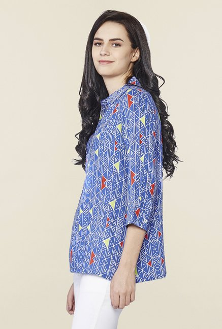 AND Blue Printed Regular Fit Top