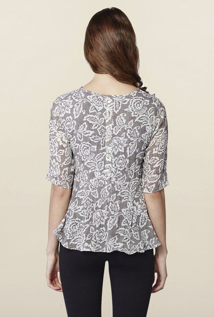 AND Grey Floral Print Top