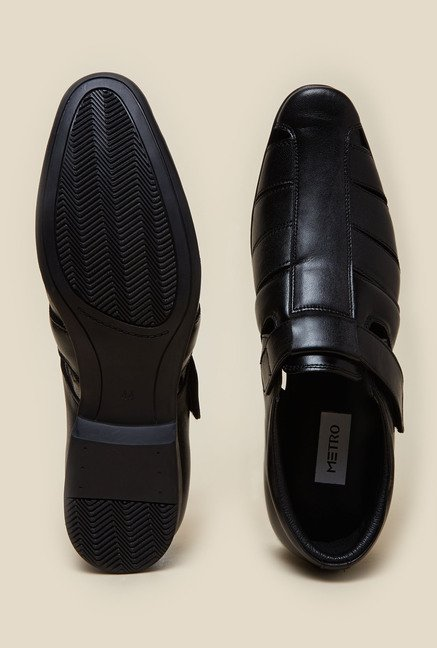 Metro Black Leather Formal Sandals