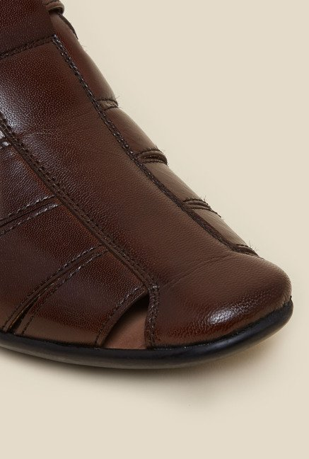 Metro Brown Leather Velcro Sandals