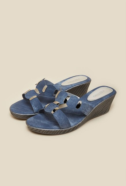 Metro Blue Mule Wedge Sandals