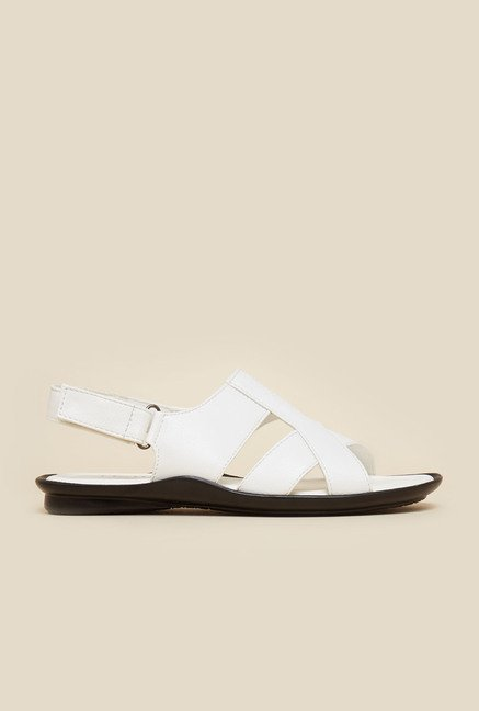 Metro White Leather Back Strap Sandals