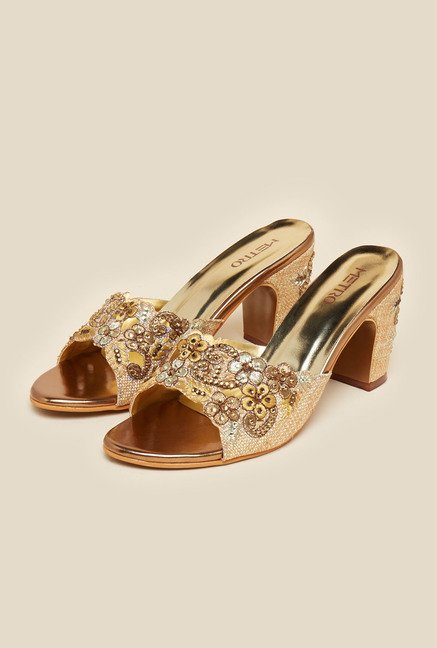 Metro Antique Gold Beaded Sandals