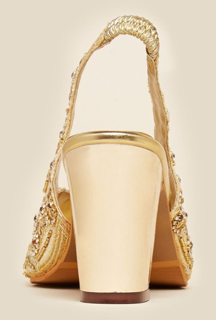 Metro Gold Sling Back Ethnic Sandals