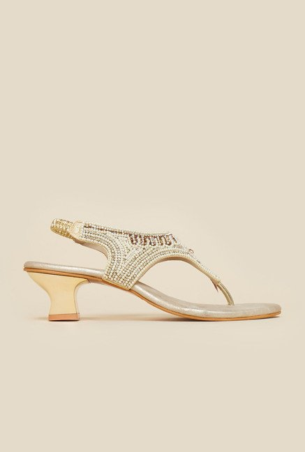 Metro Beige Sling Back Ethnic Sandals