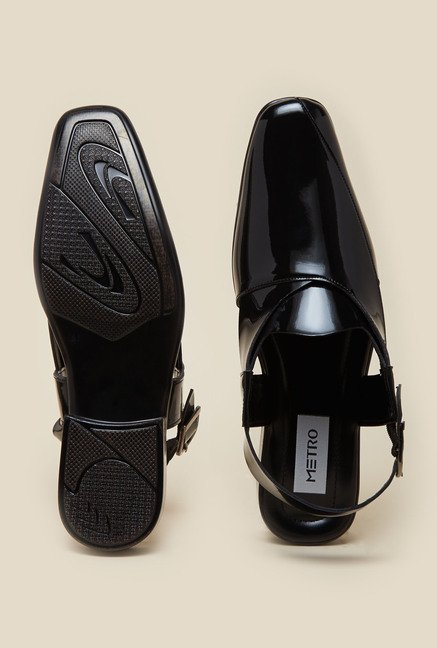 Metro Black Leather Sandals