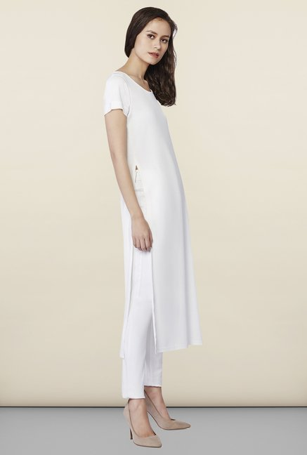 AND White Solid Kurta