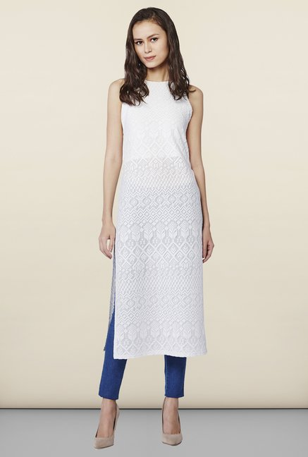 AND White Solid Textured Kurta
