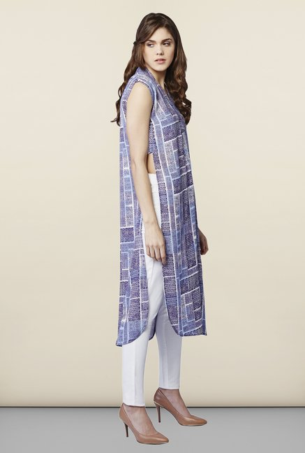 AND Blue Printed Kurta