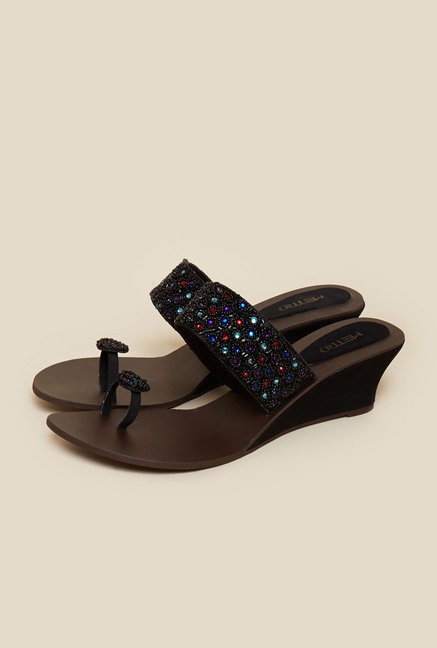 Metro Black Beaded Ethnic Wedges