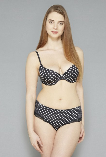 Wunderlove Black Printed Briana Briefs