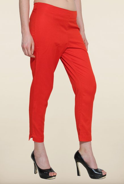 Aurelia Orange Solid Cigarette Pants