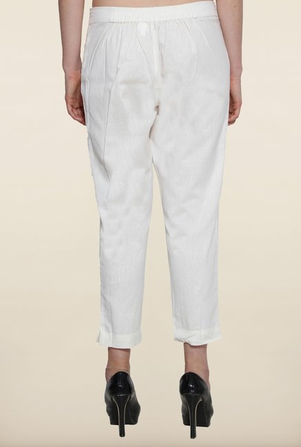 Aurelia White Solid Cigarette Pants