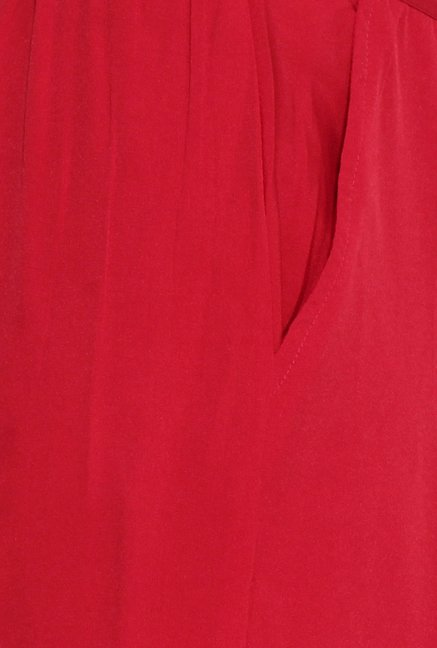 Aurelia Red Solid Pleated Palazzo