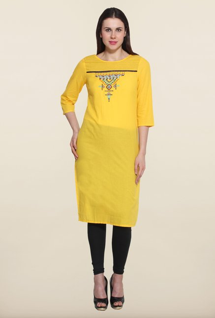 Aurelia Yellow Solid Kurta