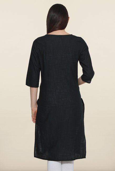 Aurelia Black Cotton Kurta