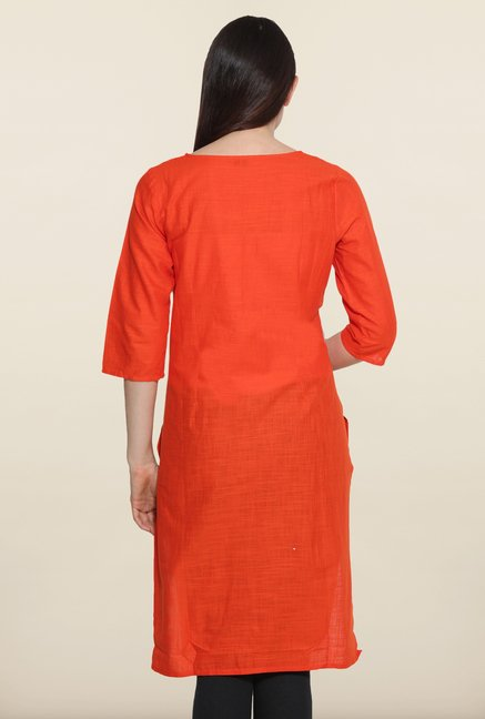 Aurelia Orange Cotton Kurta