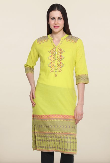 Aurelia Lime Embroidered Kurta