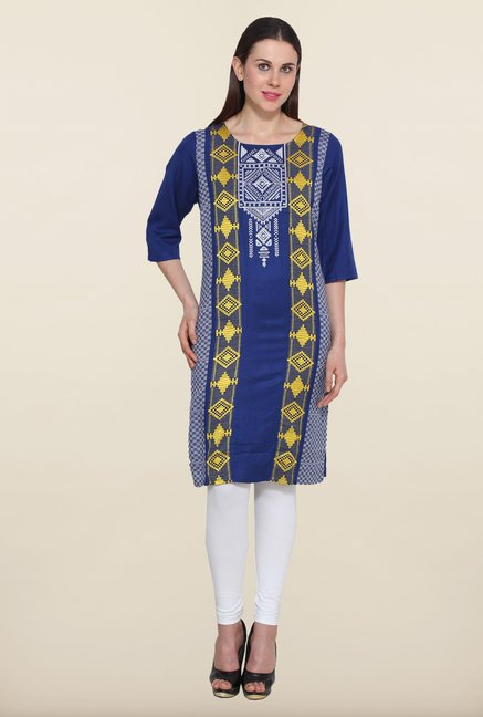 Aurelia Navy Embroidered Kurta