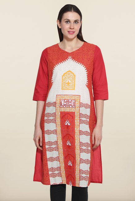 Aurelia Red Cotton Kurta
