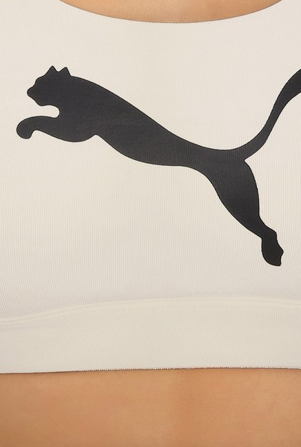 Puma Forever White Solid Sports Bra