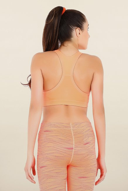 Puma Forever Peach Solid Sports Bra