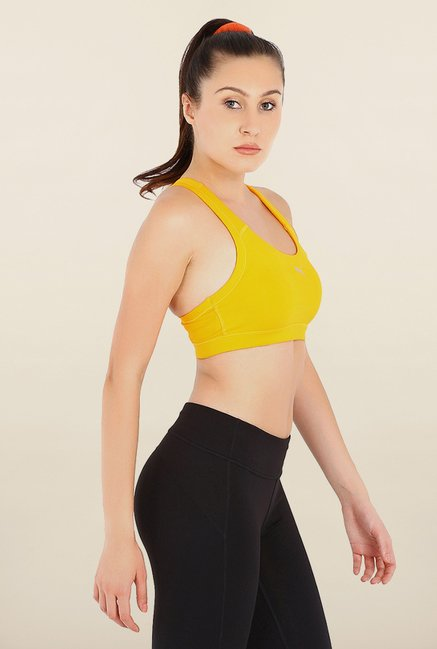 Puma Forever Yellow Solid Sports Bra