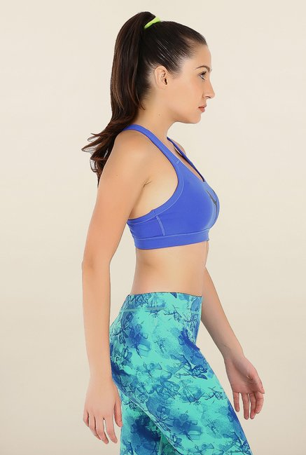 Puma Forever Blue Solid Sports Bra
