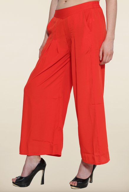 Aurelia Orange Solid Pleated Palazzo