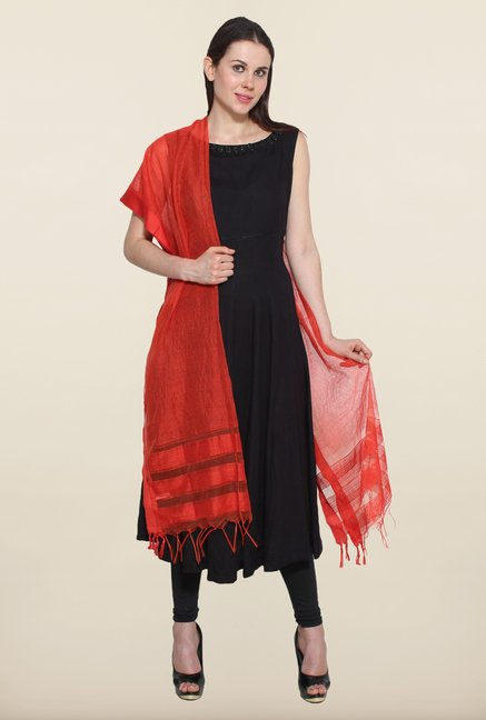 Aurelia Red Striped Dupatta