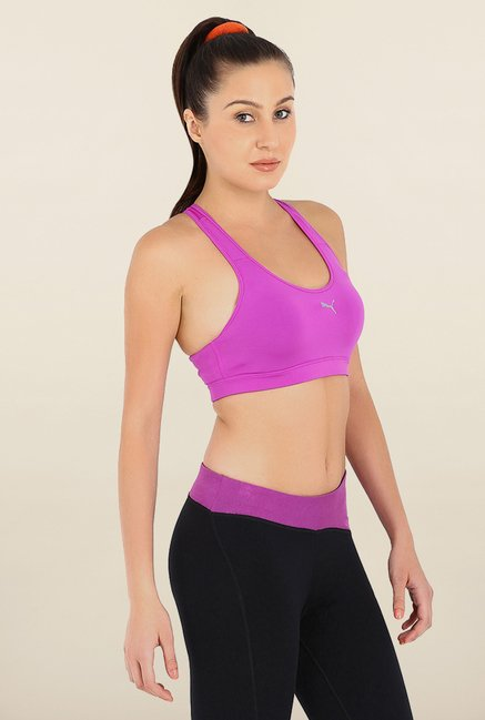 Puma Cardio Purple Solid Sports Bra