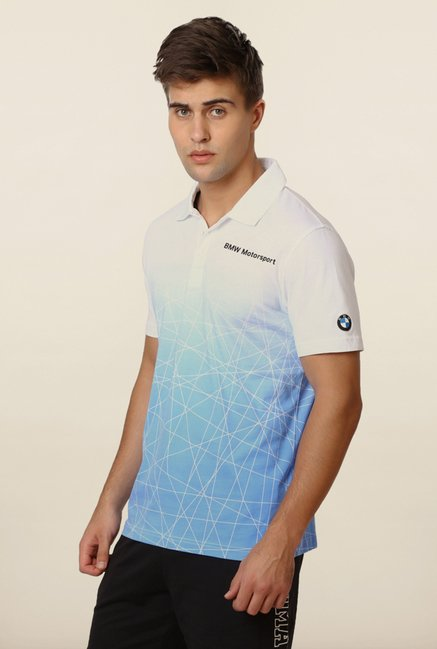 Puma White & Blue BMW Polo T shirt
