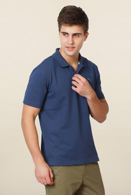 Puma Navy Solid Polo T Shirt