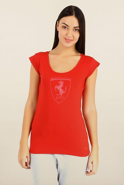 Puma Red Printed Ferrari Sports Tee