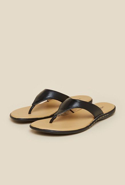 Metro Black Synthetic Leather Sandals