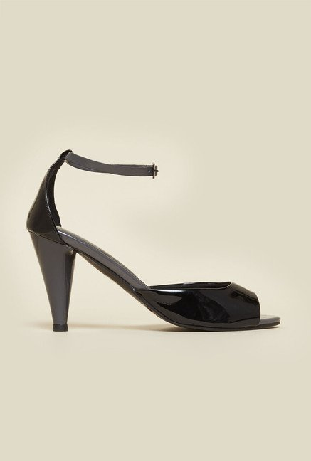 Metro Black Ankle Strap Stilettos