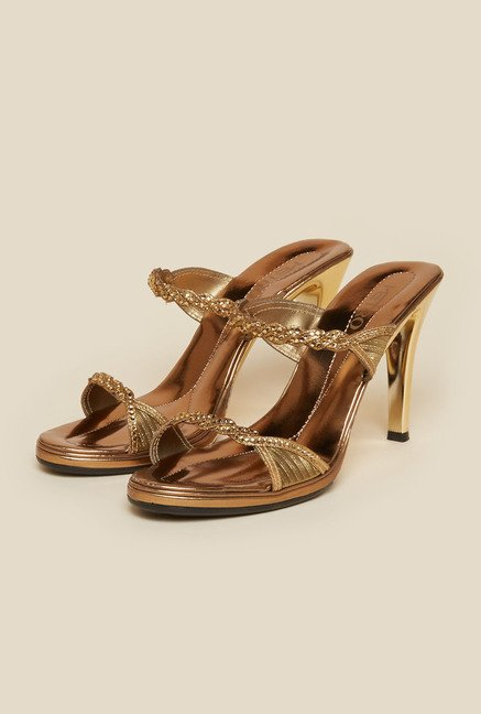 Metro Antique Gold Diamond Embellished Stilettos