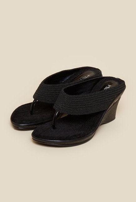 Metro Black Thong Wedges