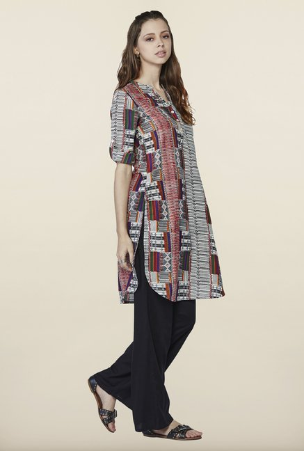 Global Desi Grey & Brown Printed Kurti