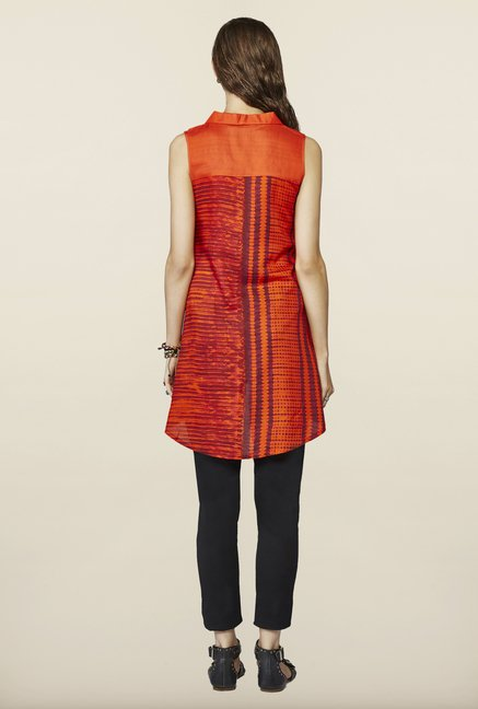 Global Desi Orange High Low Tunic