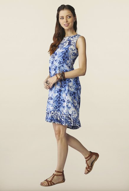 Global Desi Blue Tie Dye Dress