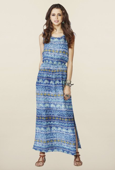 Global Desi Blue Floral Printed Maxi Dress