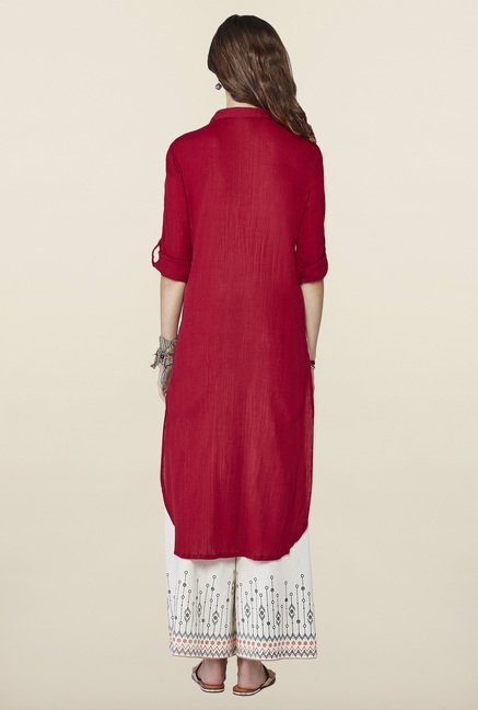 Global Desi Maroon Solid Kurti