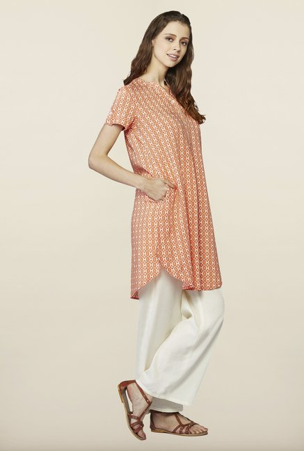 Global Desi Peach Printed Kurti