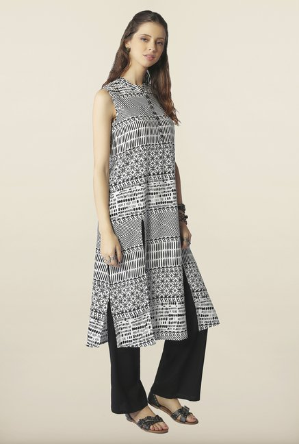 Global Desi Black & White Block Print Kurta