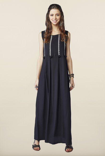 Global Desi Black Solid Maxi Dress