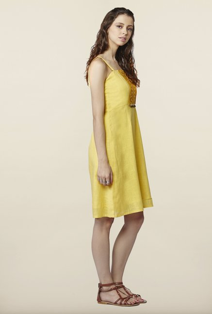 Global Desi Yellow Solid Dress