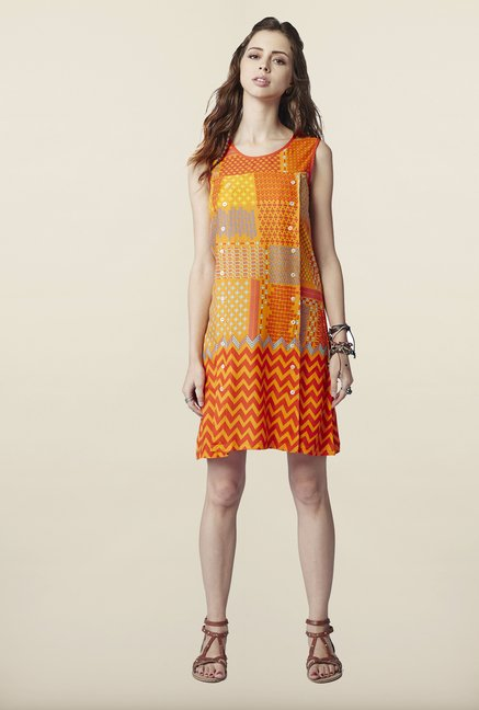 Global Desi Orange Shift Dress