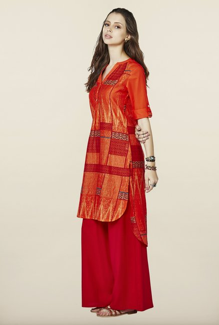 Global Desi Orange High Low Kurti