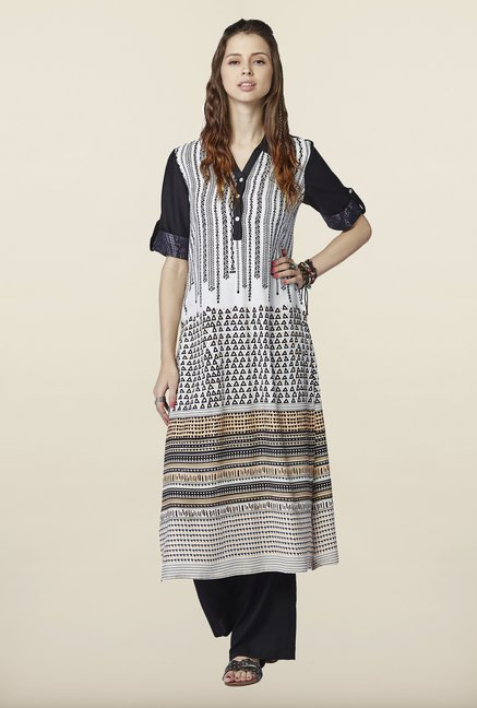 Global Desi White & Black Printed Kurti